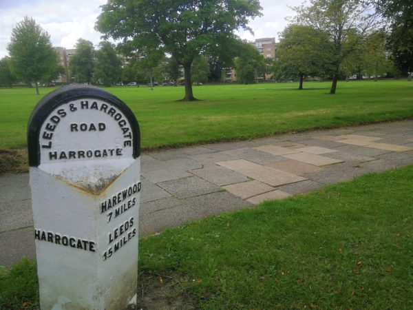 Harrogate mile post near Coxwold Cottages