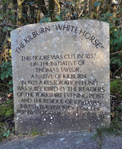 Plaque at Kilburn White Horse near Coxwold Cottages