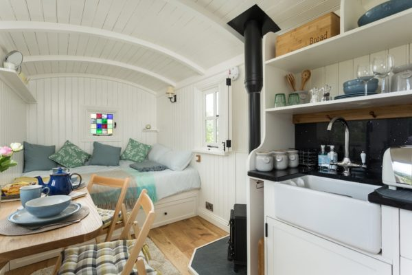 Shepherd's Hut interior, designed for our guests' comfort and relaxation