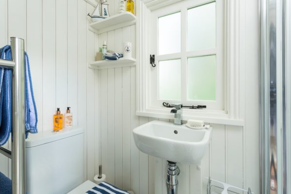 Ensuite shower room within the Shepherd's Hut with heated towel rail, WC and handbasin