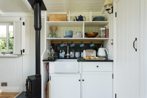 The Shepherd's Hut kitchen is ideal for simple food preparation