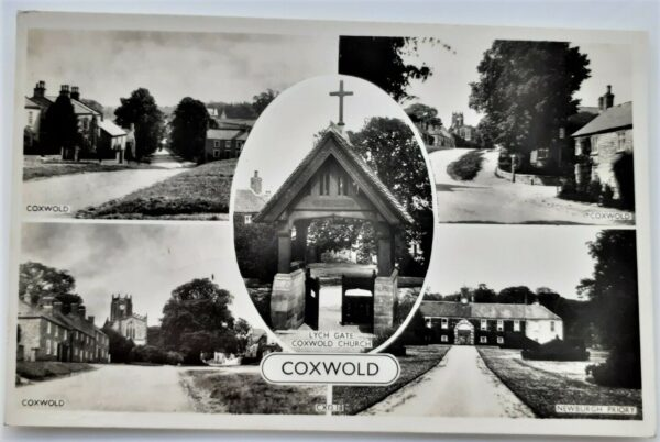 Old multi view postcard of Coxwold village