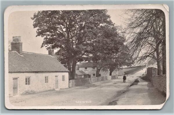 The road to Newburgh from Coxwold. Sadly the cottages on the left were demolished many years ago.