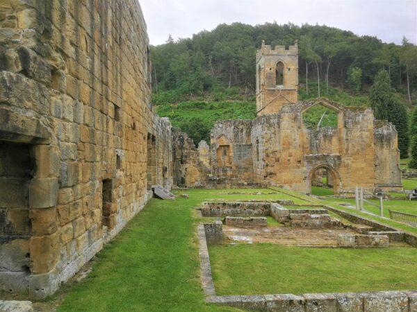 The ruinous Carthusian monastery church at Mount Grace Priory