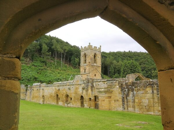 Looking across the Great Cloister at Mount Grace