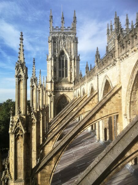 Almost half way up the climb to the top of York Minster... what a view!
