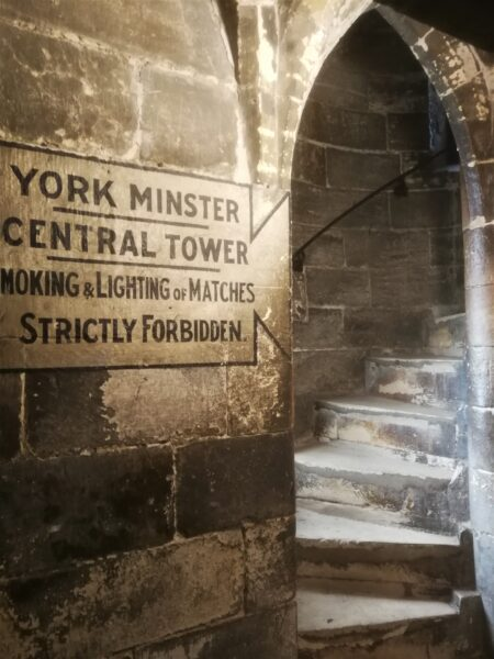 The start of the climb to the top of York Minster's central tower - 275 steps to go!